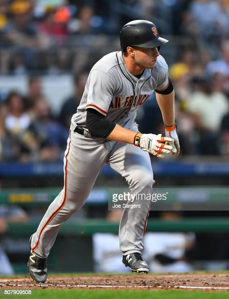 Austin Slater of the San Francisco Giants in action during the game against the Pittsburgh Pirates at PNC Park on June 30 2017 in Pittsburgh...