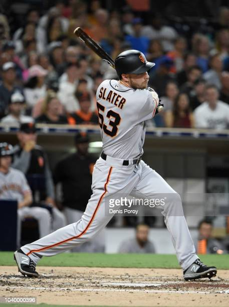 Austin Slater of the San Francisco Giants plays during a baseball game against the San Diego Padres at PETCO Park on September 17 2018 in San Diego...
