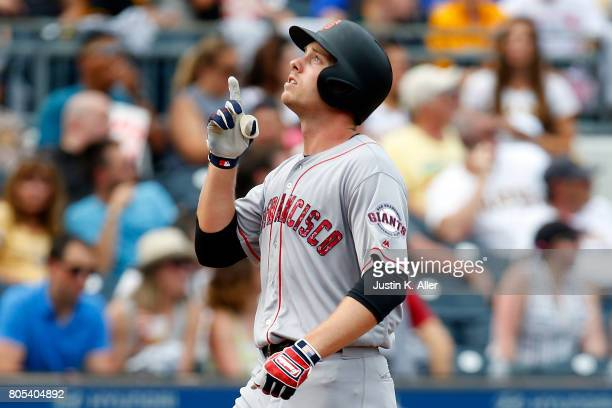 Austin Slater of the San Francisco Giants reacts after hitting a home run in the sixth inning against the Pittsburgh Pirates at PNC Park on July 1...