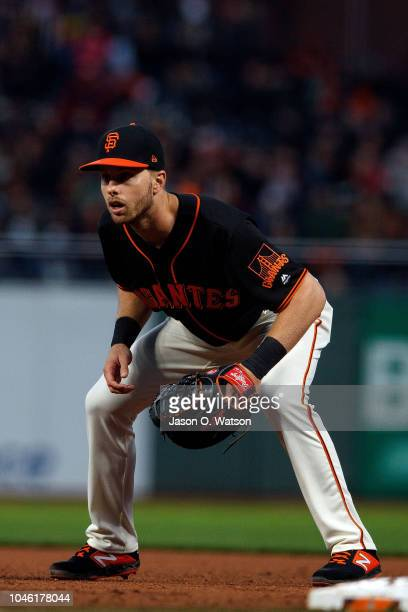 Austin Slater of the San Francisco Giants stands on the field during the fifth inning against the Colorado Rockies at ATT Park on September 15 2018...