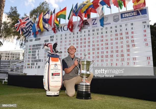 Austin Smotherman of the United States poses with the trophy after winning the PGA TOUR Latinoamerica 59º Abierto Mexicano de Golf at Club Campestre...