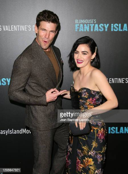 Austin Stowell and Lucy Hale attend the premiere of Columbia Pictures' Blumhouse's Fantasy Island at AMC Century City 15 on February 11 2020 in...