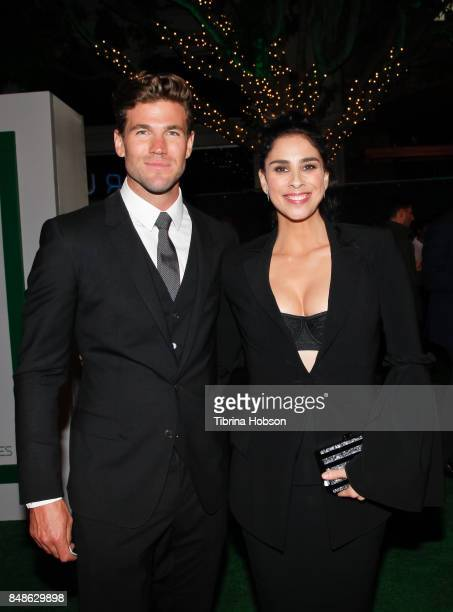 Austin Stowell and Sarah Silverman attend the premiere of Fox Searchlight Pictures 'Battle Of The Sexes' after party at Regency Village Theatre on...