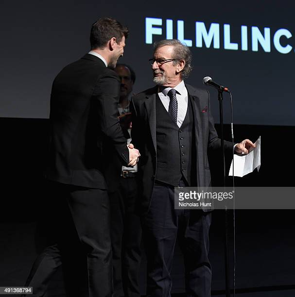 Austin Stowell and Steven Spielberg attend the cast introduction of 'Bridge Of Spies' during the 53rd New York Film Festival at Alice Tully Hall...