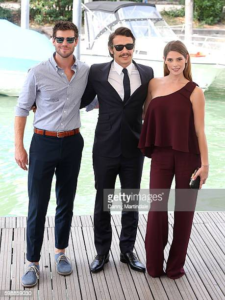 Austin Stowell James Franco and Ashley Greene arrives on the Lido during the 73rd Venice Film Festival on September 3 2016 in Venice Italy