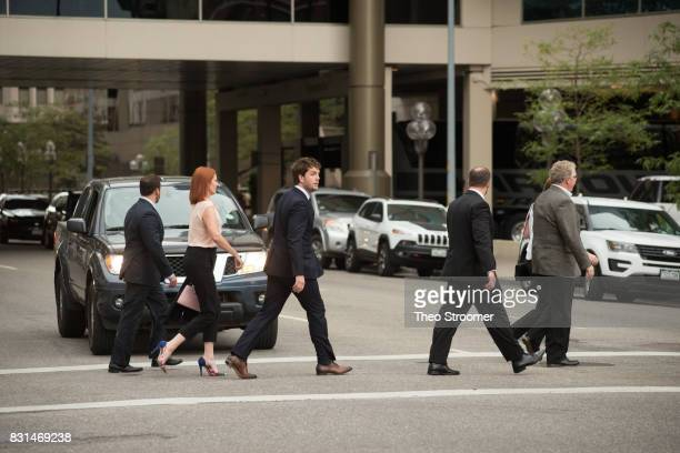 Austin Swift leaves the courthouse following the verdict of the civil case of Taylor Swift vs David Mueller at the Alfred A Arraj Courthouse on...