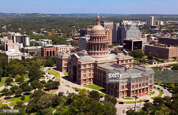 Austin Texas aerial of Capitol and city