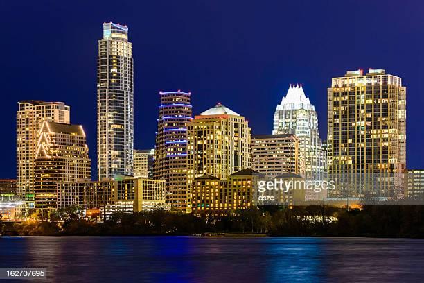 Austin Texas cityscape panorama skyline, Town Lake, night