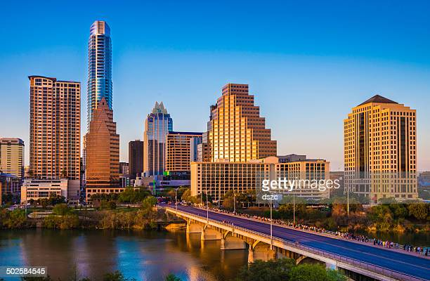 austin texas cityscape skyline panorama, congress avenue bridge, late afternoon - austin texas stock pictures, royalty-free photos & images