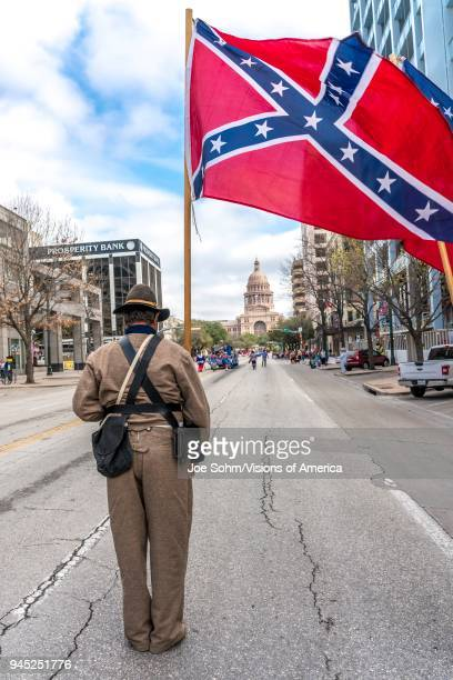 Austin Texas Confederate Flag at annual Texas Independence Day parade to the Texas Capitol An official state holiday the day celebrates Texas'...