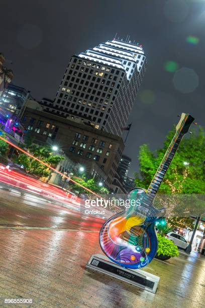 austin texas congress avenue panoramic view at night - austin texas stock photos and pictures