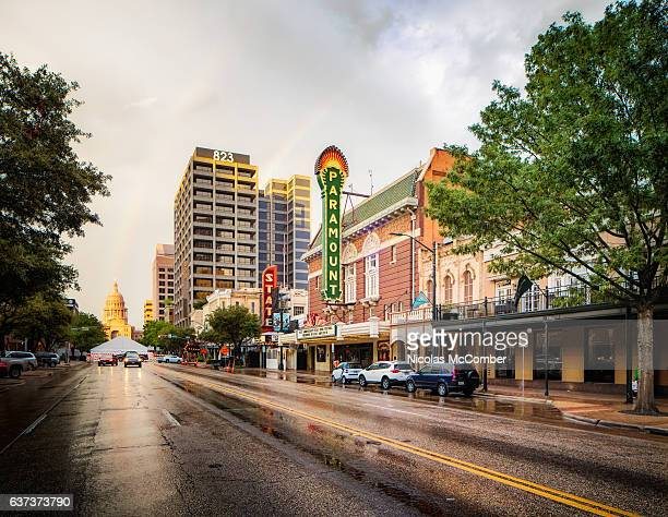 Austin Texas congress street after rain