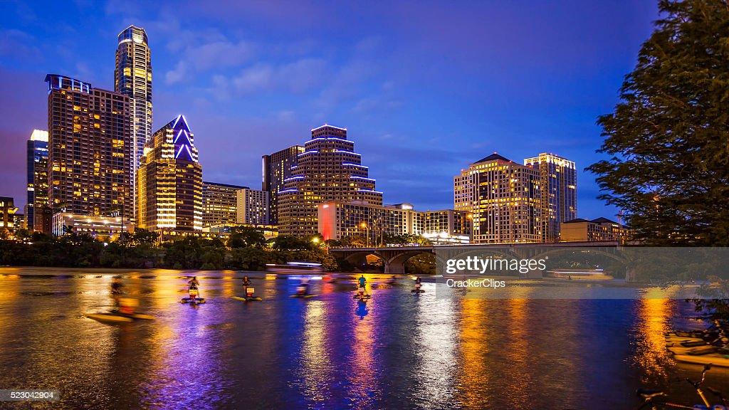 Austin, Texas Downtown Skyline at Night : Stock Photo