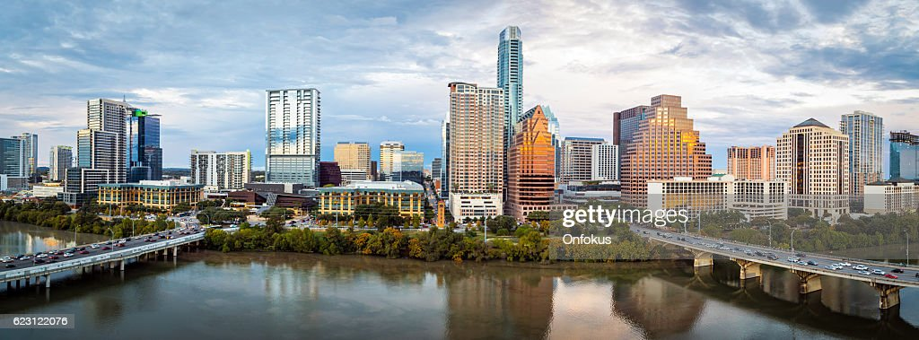 Austin Texas Downtown Skyscrapers Skyline Panorama Cityscape at Sunset : Stock Photo