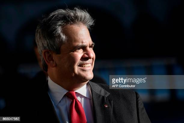 Austin, Texas mayor Steve Adler is pictured on October 22, 2017 in Paris, as part of the CityLab 2017 event. CityLab 2017 takes place in Paris...
