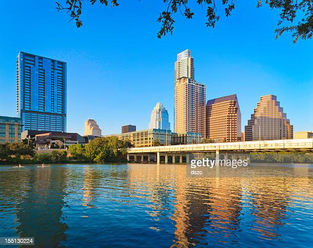 austin texas skyline and 1st street bridge - avenue stock pictures, royalty-free photos & images