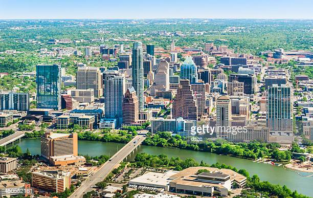 austin texas skyline cityscape aerial view - austin texas stock pictures, royalty-free photos & images