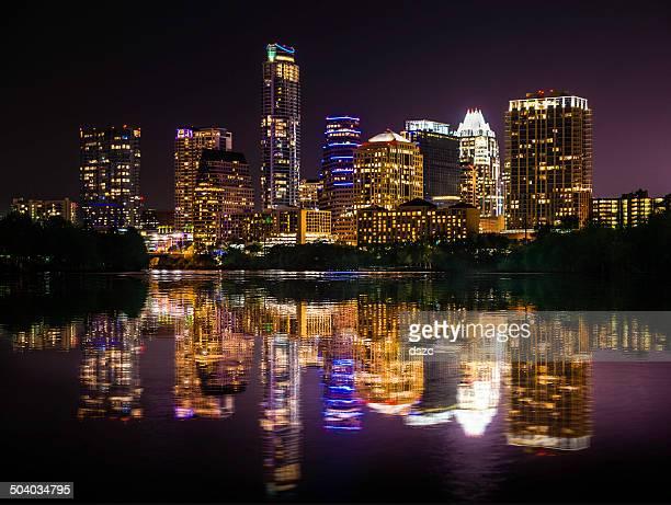 Austin Texas skyline cityscape reflection over Ladybird Lake at night