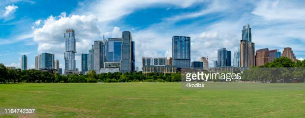 austin texas skyline panorama - austin texas stock pictures, royalty-free photos & images