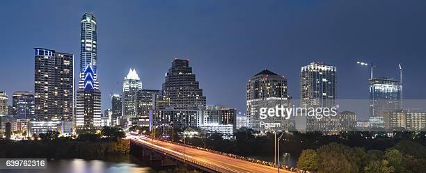 austin texas skyline panorama - capital cities stock photos and pictures