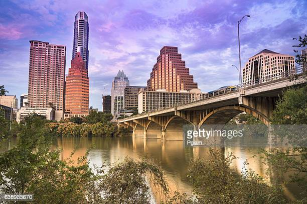 austin texas skyline - austin texas stock photos and pictures