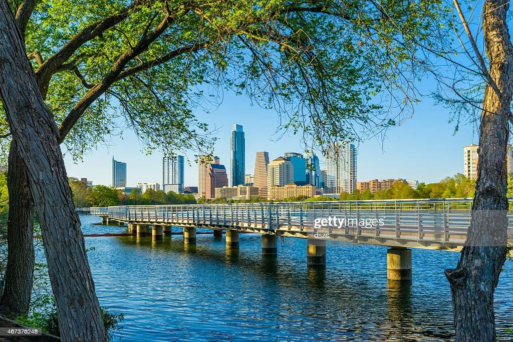 Austin Texas skyline. The Boardwalk Trail at Lady Bird Lake. : Stock Photo