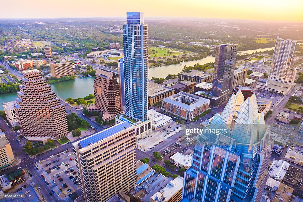 Austin Texas skyscrapers skyline aerial at sunset from helicopter : Stock Photo