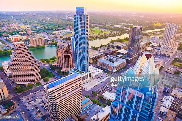 Austin Texas skyscrapers skyline aerial at sunset from helicopter