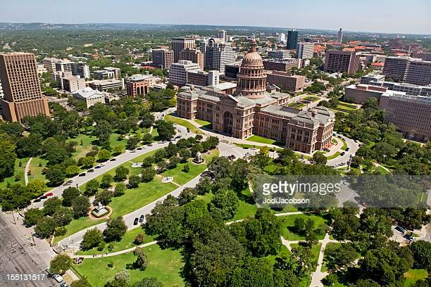 austin texas state capitol aerial and city - borough district type stock pictures, royalty-free photos & images