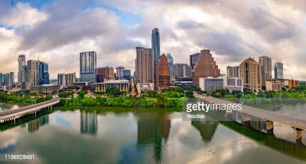 austin texas usa skyline panorama - austin texas stock pictures, royalty-free photos & images