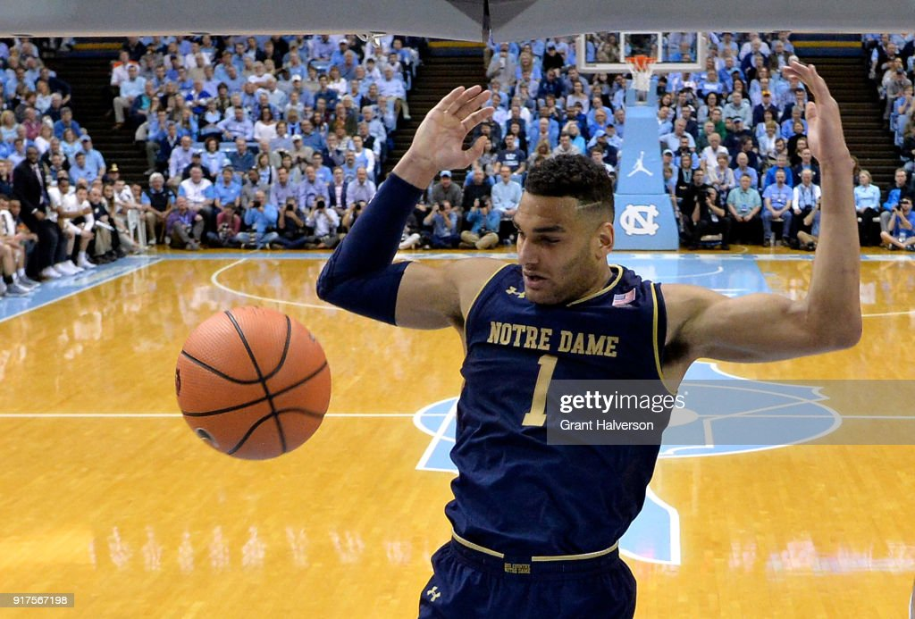 Austin Torres #1 of the Notre Dame Fighting Irish dunks against the North Carolina Tar Heels during their game at the Dean Smith Center on February 12, 2018 in Chapel Hill, North Carolina. North Carolina won 83-66.