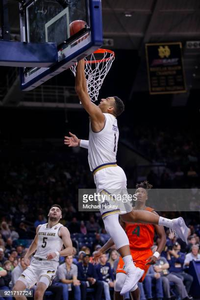 Austin Torres of the Notre Dame Fighting Irish shoots the ball during the game against the Miami Hurricanes at Purcell Pavilion on February 19 2018...