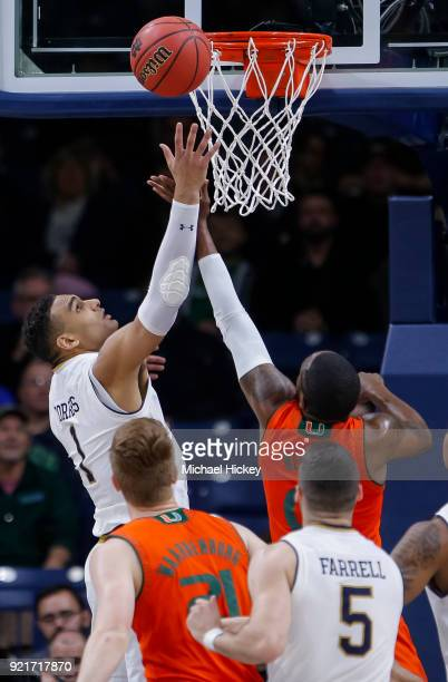 Austin Torres of the Notre Dame Fighting Irish shoots the ball against the Miami Hurricanes at Purcell Pavilion on February 19 2018 in South Bend...