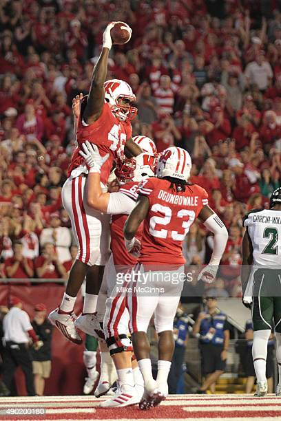 Austin Traylor of the Wisconsin Badgers celebrates after scoring a touchdown in the second half against the Hawaii Rainbow Warriors at Camp Randall...