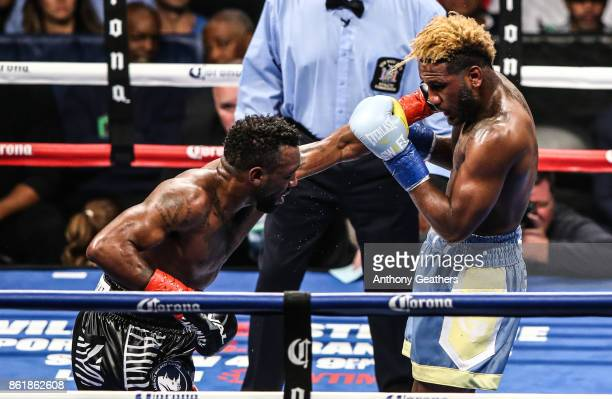Austin Trout and Jarrett Hurd fight during their IBF Junior Middleweight Title bout at Barclays Center on October 14, 2017 in the Brooklyn borough of...