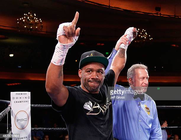 Austin Trout celebrates following his Junior Middleweight victory over Joey Hernandez at Hollywood Palladium on September 8, 2015 in Los Angeles,...