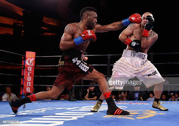 Austin Trout throws a left hand at Joey Hernandez during their Junior Middleweight bout at Hollywood Palladium on September 8, 2015 in Los Angeles,...