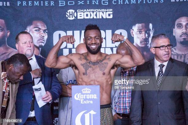 Austin Trout weighs in during the Erislandy Lara vs Terrel Gausha Official Weigh In at the Barclays Center on October 13, 2017 in the Brooklyn...