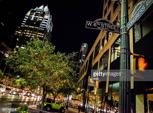 austin tx downtown night life, 6th congress street sign intersection - austin texas stock pictures, royalty-free photos & images