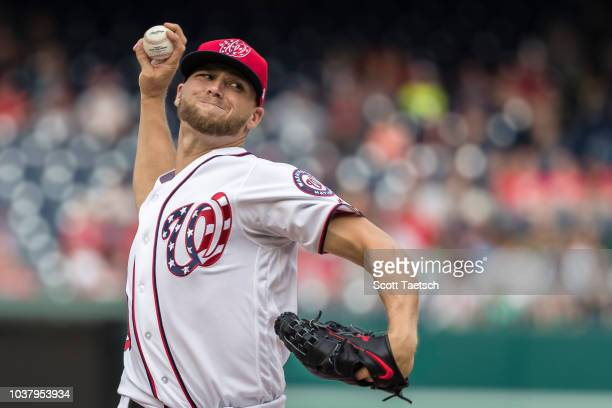 Trea Turner of the Washington Nationals celebrates after hitting a tworun home run against the New York Mets during the third inning at Nationals...