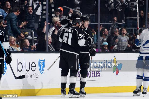 Austin Wagner and Matt Luff of the Los Angeles Kings celebrate Wagner's secondperiod goal during the game against the Tampa Bay Lightning at STAPLES...