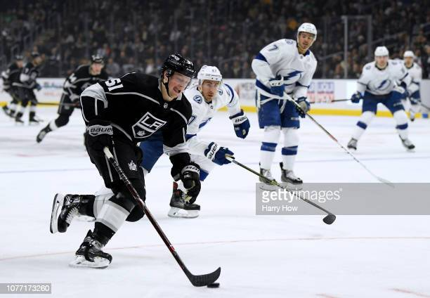 Austin Wagner of the Los Angeles Kings breaks in to score past Ryan McDonagh of the Tampa Bay Lightning during the second period at Staples Center on...