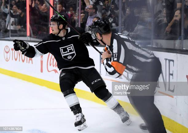 Austin Wagner of the Los Angeles Kings celebrates his goal his second of the game to take a 31 lead over the Winnipeg Jets during the second period...