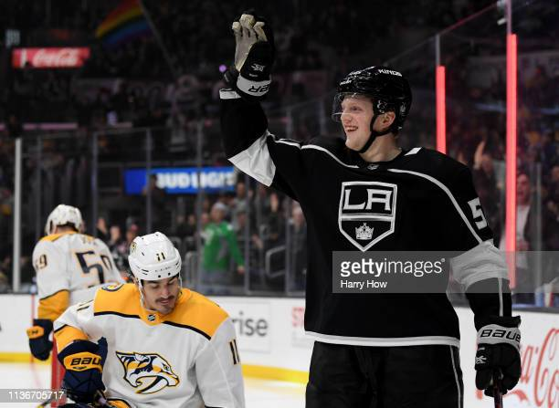 Austin Wagner of the Los Angeles Kings celebrates his goal in front of Brian Boyle of the Nashville Predators for a 11 tie during the second period...