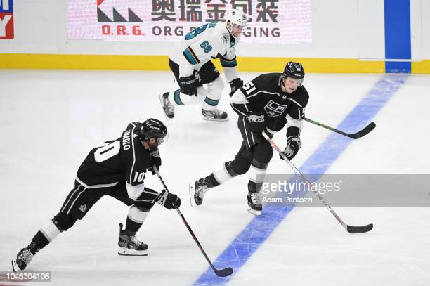 Austin Wagner of the Los Angeles Kings handles the puck during a game against the San Jose Sharks at STAPLES Center on October 5 2018 in Los Angeles...