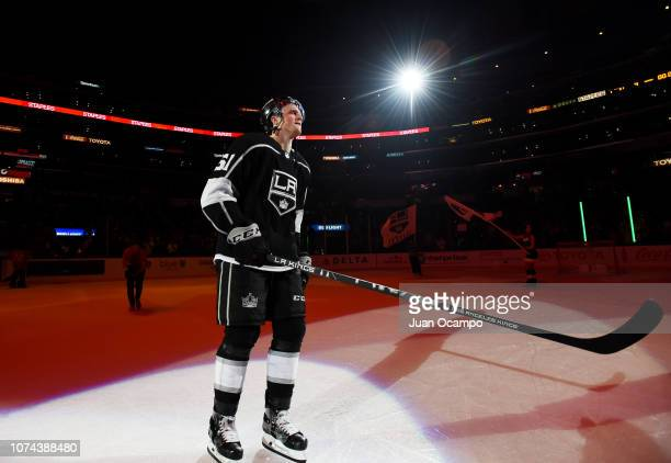 Austin Wagner of the Los Angeles Kings is recognized as a star of the game after defeating the Winnipeg Jets 41 in the game at STAPLES Center on...