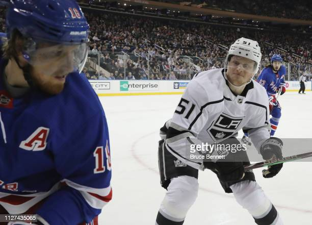 Austin Wagner of the Los Angeles Kings lines up Marc Staal of the New York Rangers for a first period hit at Madison Square Garden on February 04...