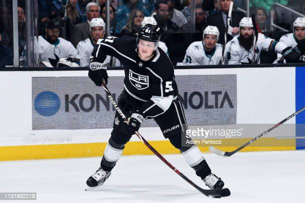 Austin Wagner of the Los Angeles Kings passes the puck during the first period of the game against the San Jose Sharks at STAPLES Center on March 21...