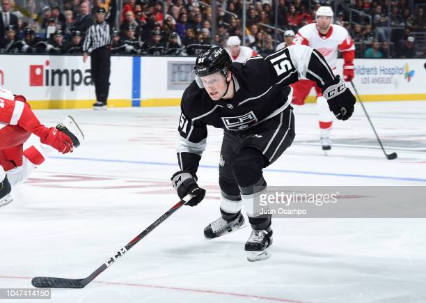 Austin Wagner of the Los Angeles Kings skates during the third period of the game against the Detroit Red Wings at STAPLES Center on October 7 2018...