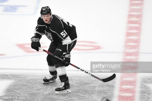 Austin Wagner of the Los Angeles Kings skates on ice during a game against the San Jose Sharks at STAPLES Center on October 5 2018 in Los Angeles...